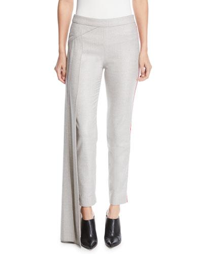 Side Drape Panel Fitted Skinny-Leg Metallic Flannel Pants