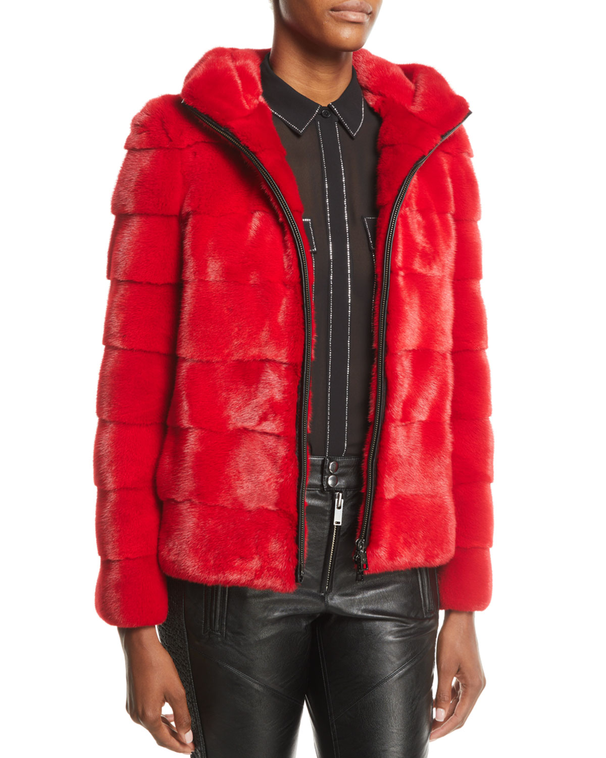 Zip-Front Horizontal Mink Fur Jacket w/ Hood