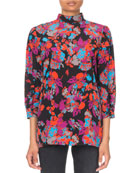 Givenchy 3/4-Sleeve Floral-Print Mock Neck Blouse and Matching