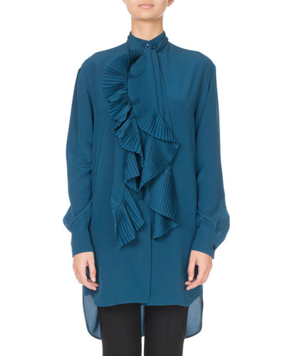 Tie-Neck Pleated Ruffled Button-Front Blouse