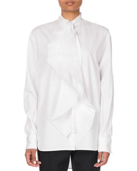 Givenchy Ruffle-Front Poplin Shirt