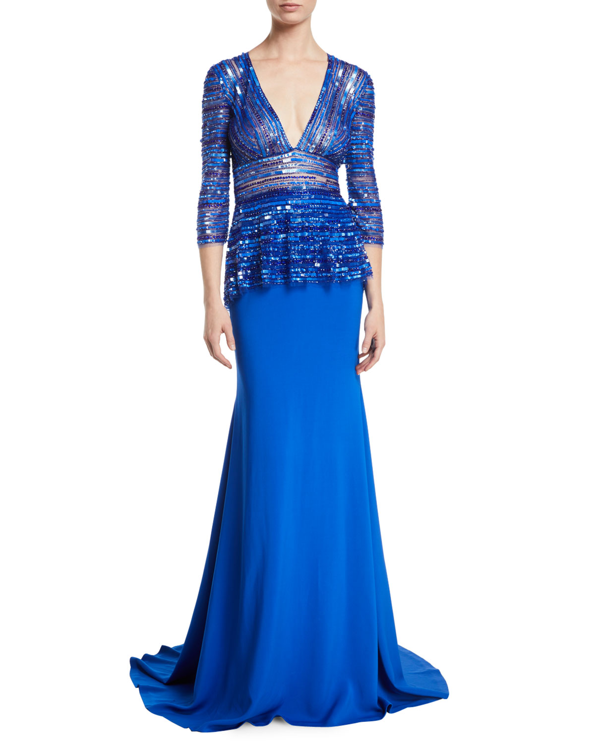 NAEEM KHAN Plunging-V 3/4-Sleeve Beaded-Top Trumpet Evening Gown in Cobalt