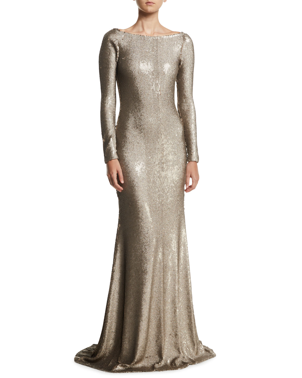 NAEEM KHAN Cowl-Back Boat-Neck Long-Sleeve Fitted Sequin Evening Gown in Gold