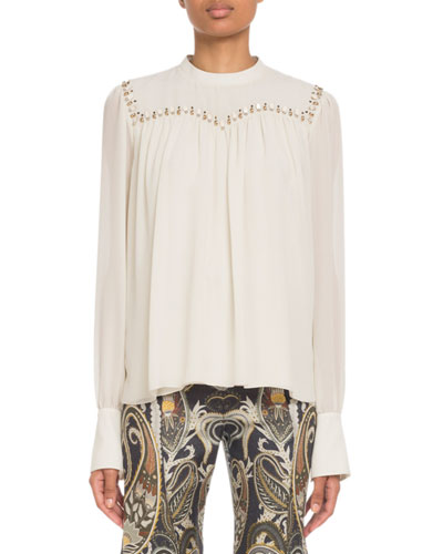 247278e1 Quick Look. Chloe · Embroidered Long-Sleeve Silk Top