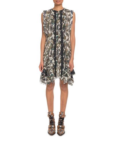 Sleeveless Paisley-Print Silk A-Line Dress w/ Lace Trim