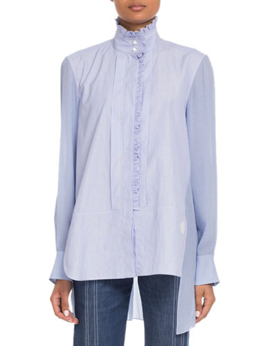 Stand-Collar Ruffled Long-Sleeve Mixed-Media Shirt