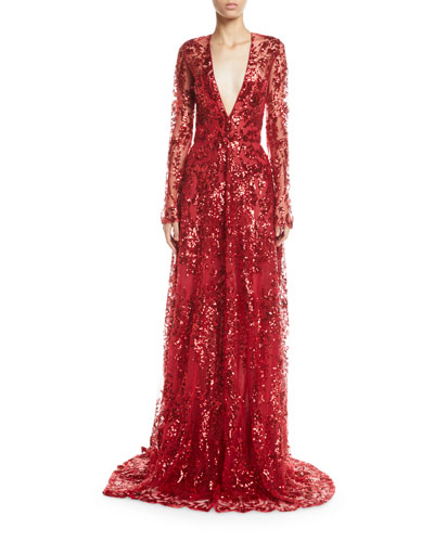 Quick Look. Naeem Khan · Long-Sleeve Deep V-Neck Sequined-Lace Gown fef10bd58