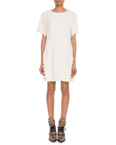 Scalloped-Trim Short-Sleeve Crewneck Crepe Shift Dress