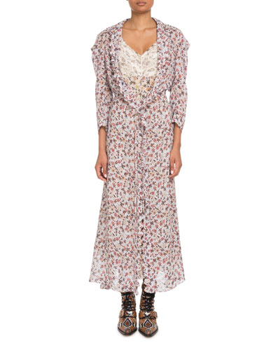 Long-Sleeve Floral-Print Viscose A-Line Duster Coat