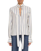 Chloe Tie-Neck Keyhole-Front Long-Sleeve Striped Silk Blouse and
