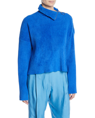 Zipper-Turtleneck Long-Sleeve Boxy Chenille Sweater