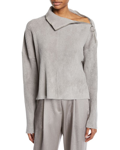 Zip-Shoulder Long-Sleeve Boxy Knit Sweater