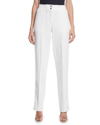 High-Rise Straight-Leg Track Pants w/ Sequin Tux-Stripe