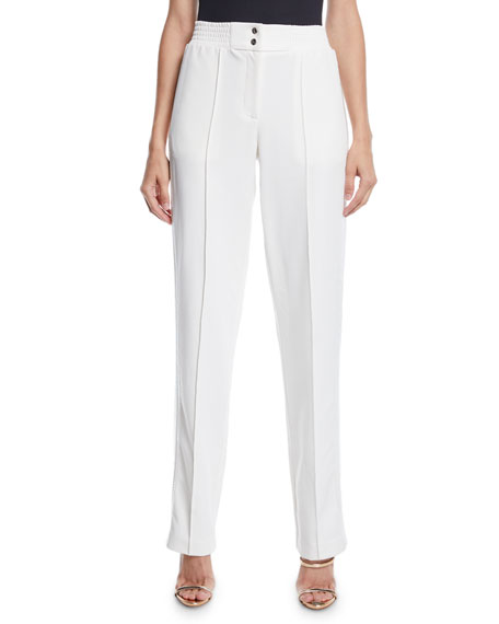 LAPOINTE High-Rise Straight-Leg Track Pants w/ Sequin Tux-Stripe
