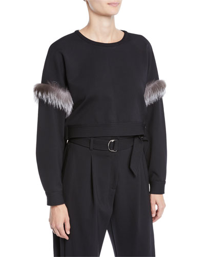 Fur-Trim Side-Tie Cropped Crewneck Top
