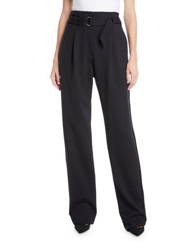 Belted High-Waist Straight-Leg Crepe Pants