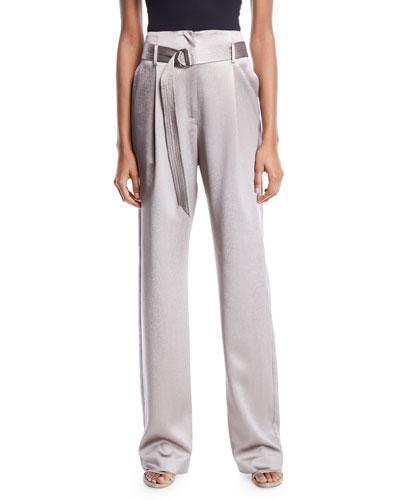 High-Waist Belted Straight-Leg Stretch Silk Pants