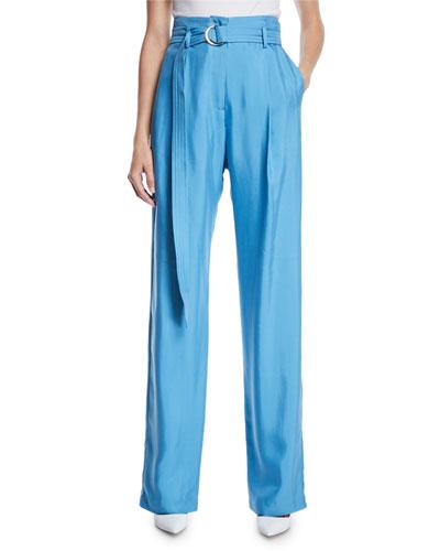 High-Waist Flat-Fly Straight-Leg Silk Pants