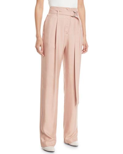 Belted High-Waist Straight-Leg Silk Twill Pants