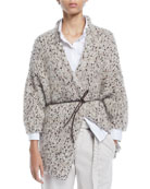 Brunello Cucinelli Shimmer Chunky-Knit Belted Cardigan