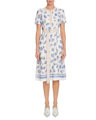 21fb9ba3b4c4 Quick Look. Altuzarra · Caletta Short-Sleeve Belted Pottery-Print A-Line  Midi Dress