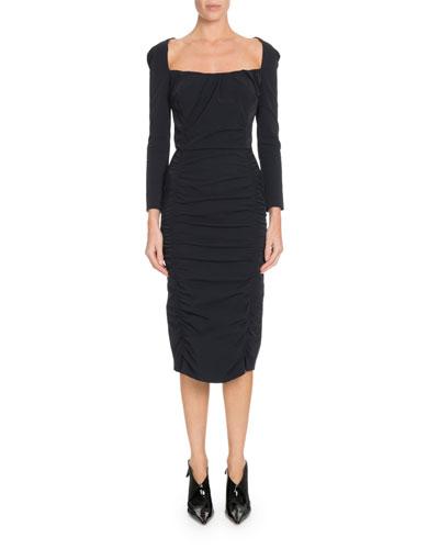 Open-Back Long-Sleeve Ruched Midi Dress