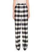 Altuzarra Gavi High-Waist Side-Zip Macro-Check Stretch-Wool Pants