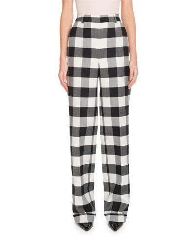 Gavi High-Waist Side-Zip Macro-Check Stretch-Wool Pants