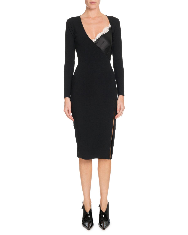Gianni Cami-Inset V-Neck Long-Sleeve Bodycon Knit Dress, Black