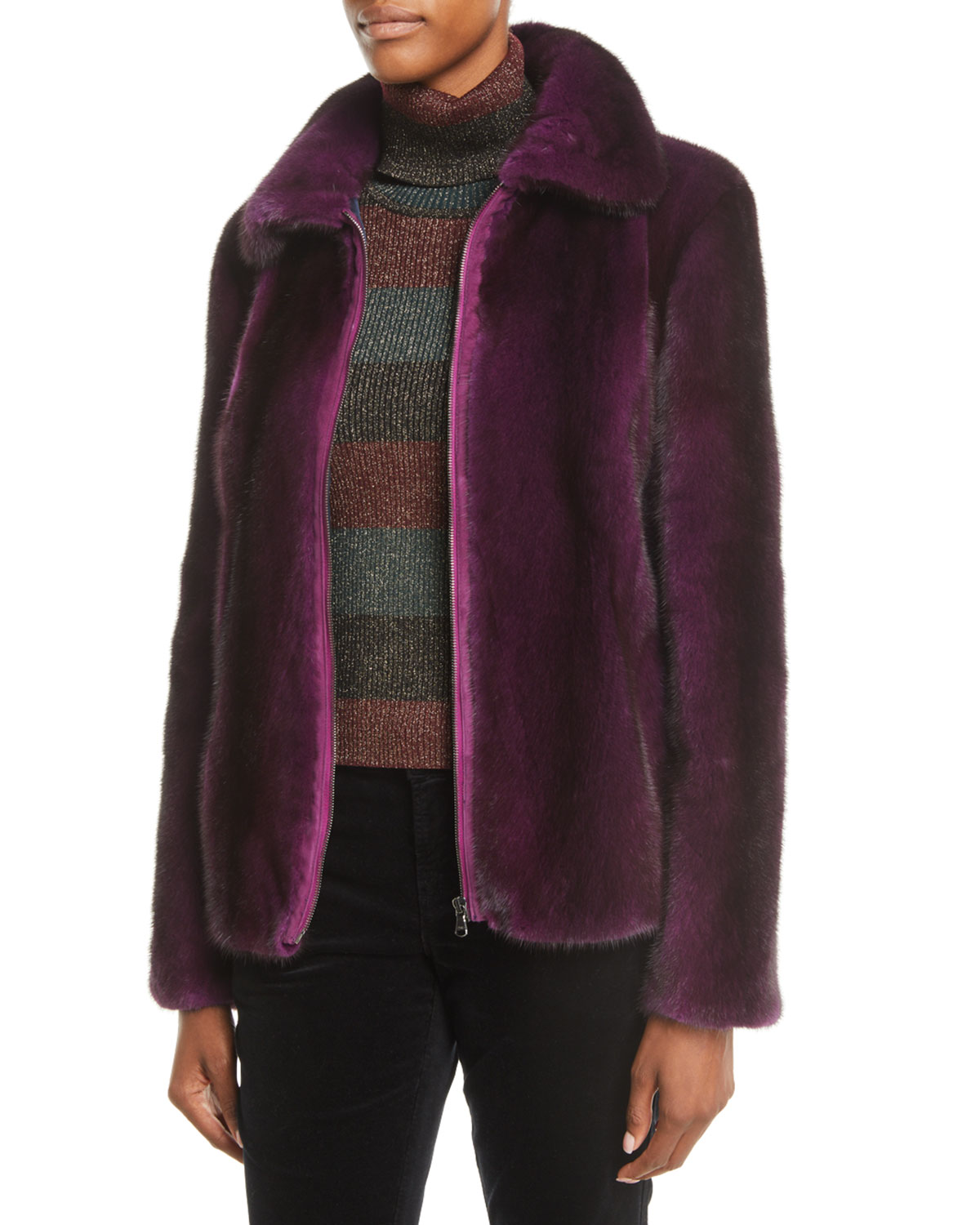 Mink-Fur Zip-Front Jacket