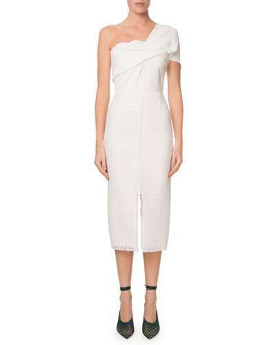 Morita One-Shoulder Lattice-Skirt Midi Dress