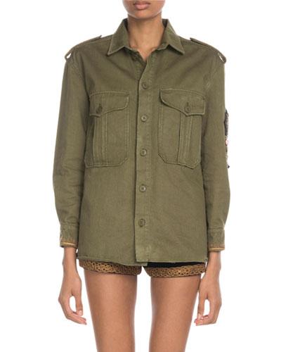 Military Patchwork Shirt Jacket