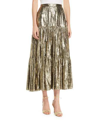 249ddab1deea6 Quick Look. Michael Kors Collection · Crushed Metallic Silk Tiered Long  Skirt