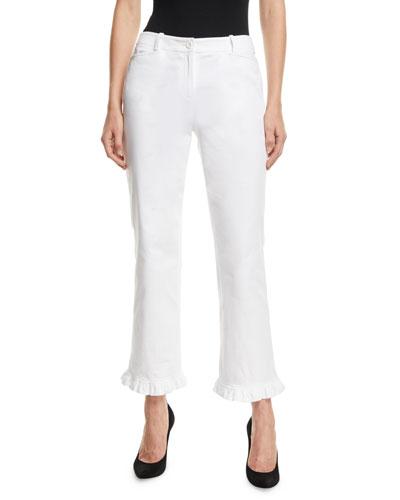 Ruffled-Hem Straight-Leg Stretch-Cotton Trousers