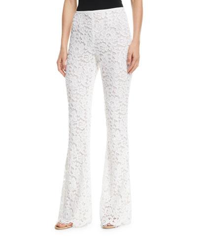 Side-Zip Flare-Leg Floral-Lace Pants