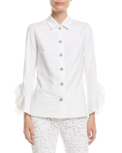 Jewel-Buttons Long-Sleeve Classic Stretch-Poplin Shirt