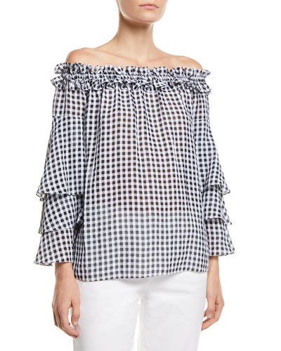 b7ebf774bf9 Quick Look. Michael Kors Collection · Off-the-Shoulder Tiered-Sleeve  Gingham Blouse
