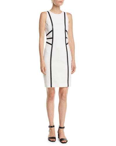 Sleeveless Stretch-Boucle Crepe Dress w/ Leather Trim
