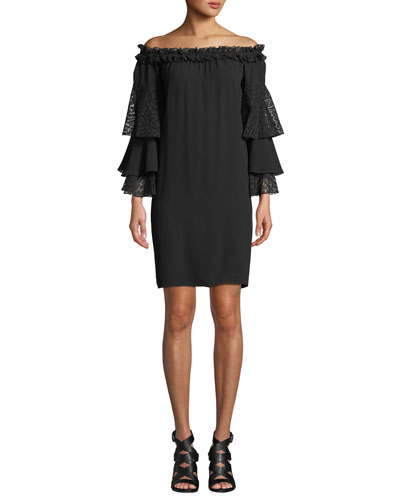 Off-the-Shoulder Silk Shift Dress with Ruffled Lace Sleeves