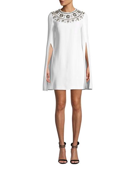 Michael Kors Collection Crystal Puka-Shell Embellished Slit-Sleeve Mini Dress