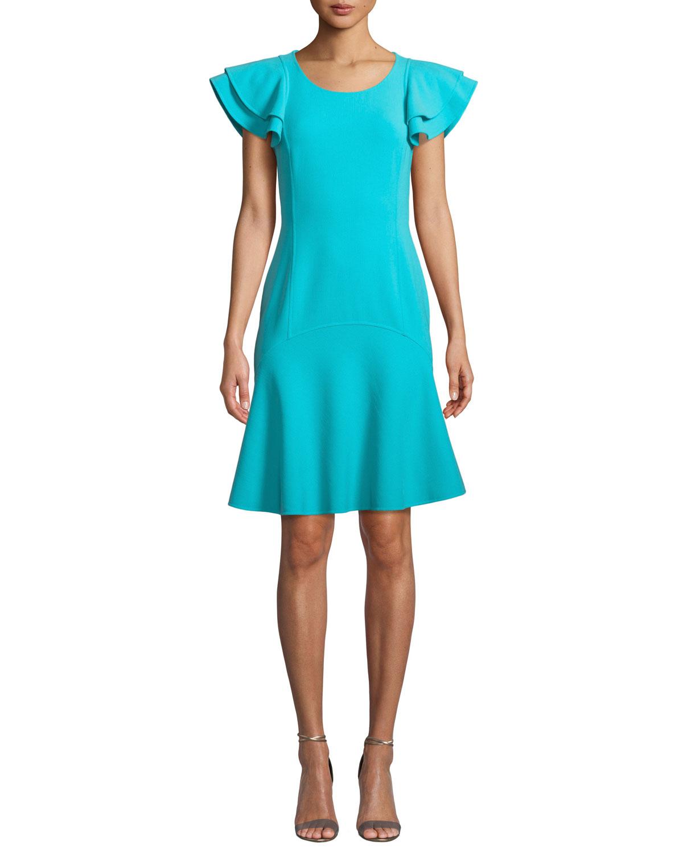 Flutter-Sleeve Scoop-Neck Stretch-Wool Crepe Dress in Aqua