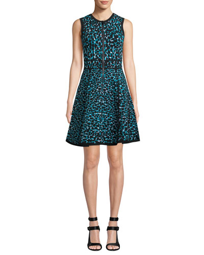 Sleeveless Zip-Front Fit-and-Flare Leopard-Print Dress w/ Paneled Full Skirt