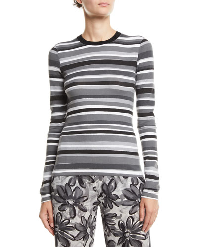 Crewneck Long-Sleeve Striped Stretch-Viscose Tee