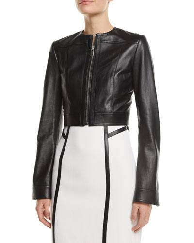 Zip-Front Cropped Plonge Leather Jacket