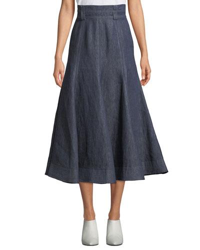 Wytte High-Waist A-Line Ankle-Length Linen Skirt