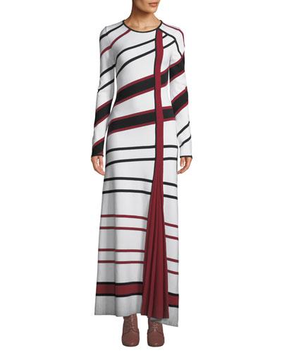 Ruben Long-Sleeve Asymmetric-Stripe Wool-Blend Maxi Dress
