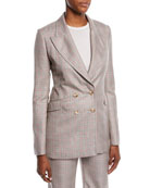 Gabriela Hearst Angel Double-Breasted Cashmere Plaid Suiting
