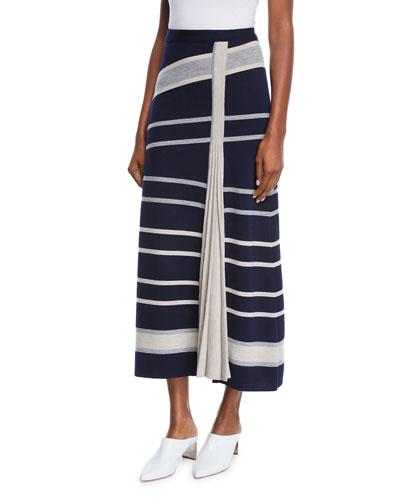 Conejo Asymmetric Striped Wool-Blend Skirt