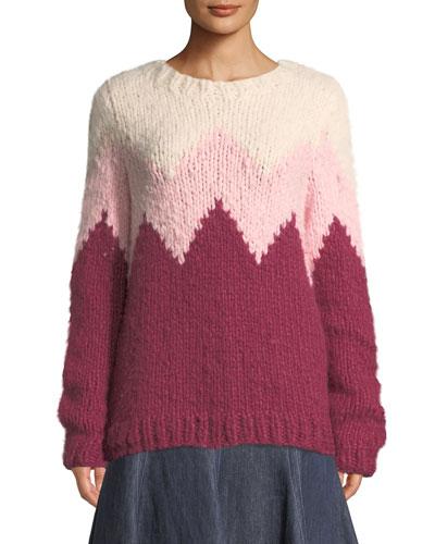 37427a4aef1a0e Quick Look. Gabriela Hearst · Crewneck Zigzag Cashmere Fluff Sweater