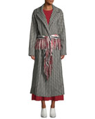 Gabriela Hearst Jiminez Poncho-Print Mid-Calf Cashmere Coat and